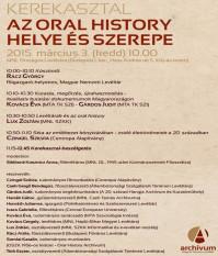 Az Oral History helye és szerepe